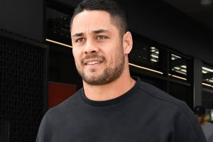Uncertain future: Gold Coast Titans player Jarryd Hayne at Titans Headquarters on Monday.