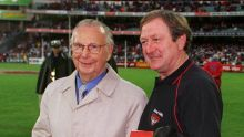 Harry Beitzel and Kevin Sheedy after a match in 2000.