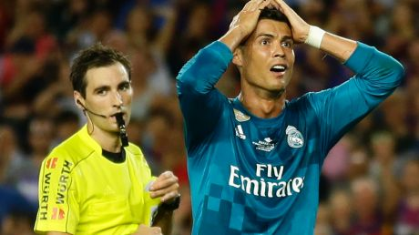 Cristiano Ronaldo was not happy with his sending off.