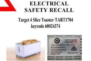 The Target 1400-watt, four-slice TART 1704 toaster has been recalled due to fears it might explode or spark a fire.