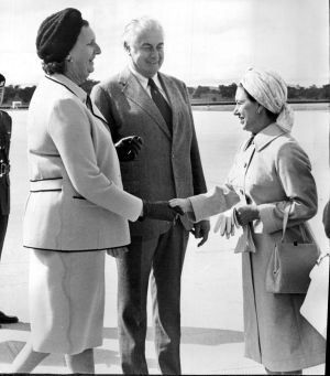Princess Margaret is greeted by prime minister Gough Whitlam and his wife on October 22, 1975.