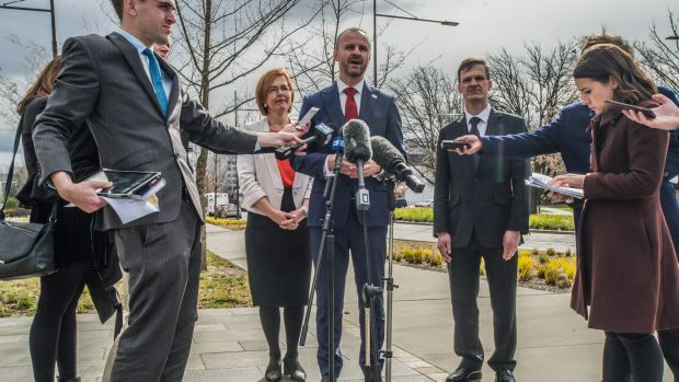 Chief Minister Andrew Barr addressing journalists at an announcement about the arrival of the UNSW in Canberra last year.