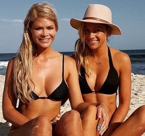 Tiffany Scanlon (right) with her ex-girlfriend, Megan Marx, whom she met on The Bachelor.