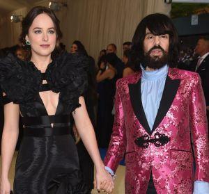Gucci creative director Alessandro Michele, pictured with Dakota Johnson, said the label's Dapper Dan reference was an ...