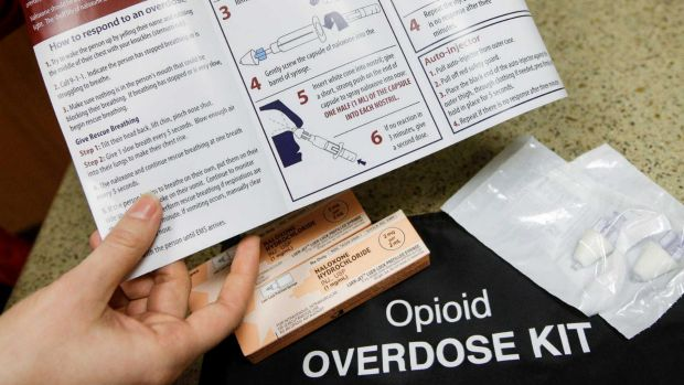 A kit for treating opioid overdose. If an overdose is caught in time, the effects can be reversed; if not, the opioids ...