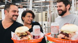 Brodburger's Sascha Brodbeck and Joelle Bou-Jaoude with Captial Brewing Co's Laurence Kain at the annoucement of the ...