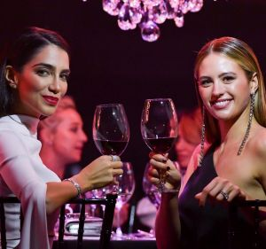 Jessica Kahawaty (L) with Jesinta Franklin (nee Campbell) at the Prix de Marie Claire Awards on August 15.