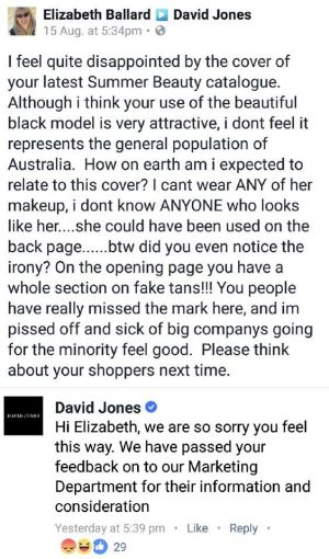 The post on the David Jones Facebook page which has angered fans of the brand.