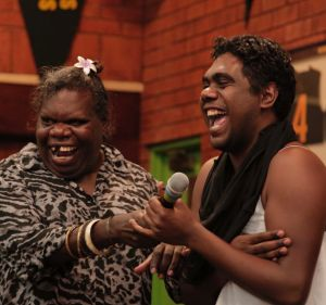 Tiwi Islands Sistergirls Crystal Love, left, and Shaun Kerinauia.