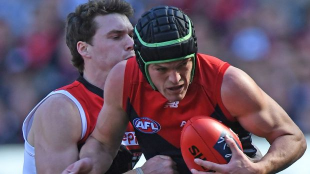 Playing it safe: Melbourne's Angus Brayshaw chose to wear a helmet for his AFL return.