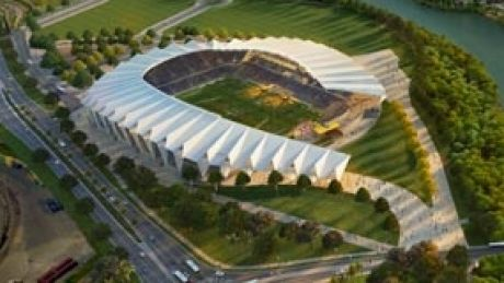 Artists' impression of the planned new stadium in Townsville.