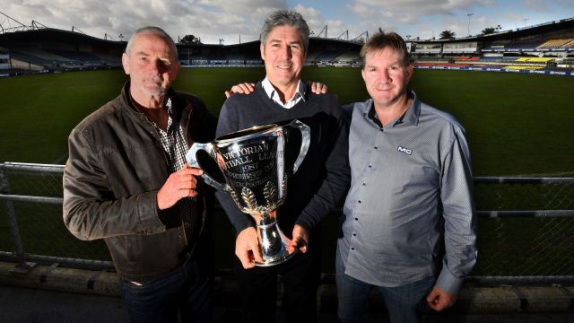 Carlton greats Robert Walls, Stephen Kernahan and David Rhys-Jones celebrate the 30-year anniversary.