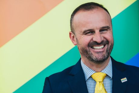ACT Chief Minister Andrew Barr talks about the government's support for same-sex marriage in Australia in front of a ...