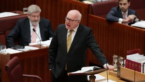 A fuming Attorney-General Senator George Brandis attacks Pauline Hanson for wearing the burqa in the Senate.