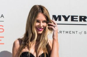 Jennifer Hawkins on the red carpet at the Myer spring 2017 launch.