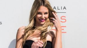 Myer ambassador Jennifer Hawkins on the red carpet at the Myer spring 2017 fashion launch in Coogee.