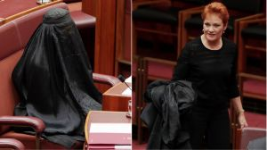 Senator Pauline Hanson with the burqa in Parliament.