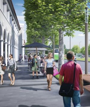 Outdoor dining on the proposed Northbourne Plaza. The green space is where stage two of light rail will commence.
