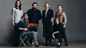 Daring: Kip Williams and Elizabeth Gadsby flanked by cast Anna Dowsley, Jeremy Kleeman, Jane Sheldon (standing) and ...