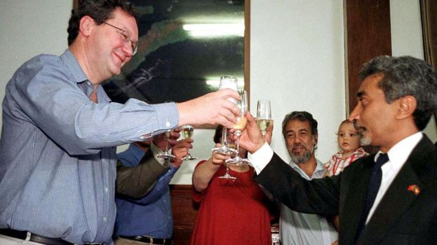 Australia's then foreign minister Alexander Downer and Mari Alkatiri, at the time East Timor's cabinet member for ...