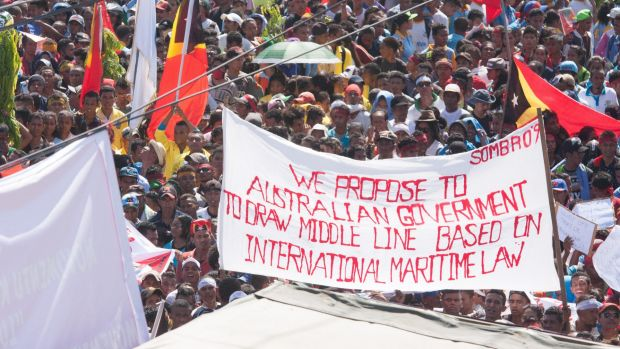 At least 10,000 people attended a protest in Dili last year against Australia's stance on the oil and gas meridian line ...