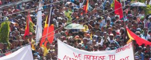 At least 10,000 people protested in Dili, East Timor's capital,  against Australia's stance on the oil and gas meridian ...