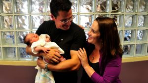 Zed Seselja and wife Ros welcome the latest edition to their family, baby Grace.