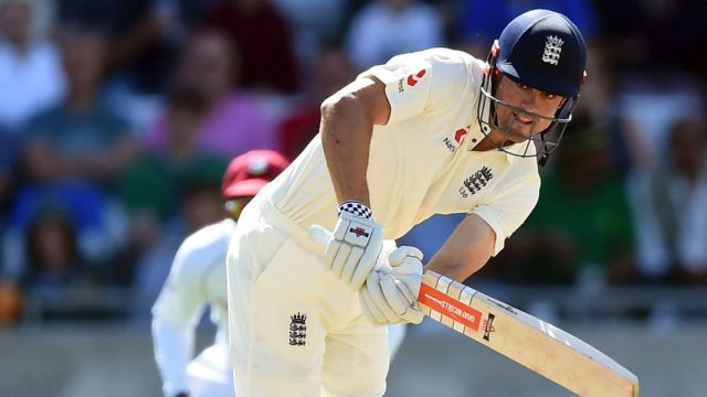 Alastair Cook batted through the first day's play against the West Indies.