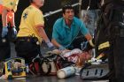 Paramedics tend to one of the many pedestrians struck by a van driving through crowds on Las Ramblas, Barcelona's most ...