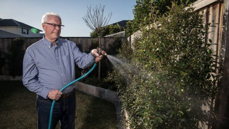 Portrait of Ken Barber, 64, at home in his garden in Kellyville. He is a retired chartered accountant and his wife ...