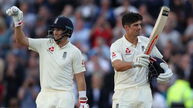 Century-makers: England duo Joe Root and Alastair Cook both reached triple figures against the West Indies on day one of ...