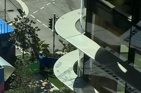 Wind smashes glass at Barangaroo office 4th floor