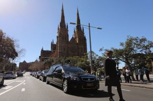 The hearse leaves at the end of the State Funeral for The Honourable John Richard Johnson at St Mary's Cathedral in Sydney