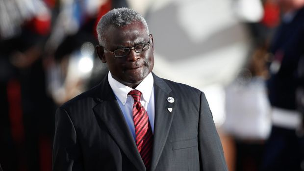 Solomon Islands Prime Minister Manasseh Damukana Sogavare outside Parliament House in Canberra.