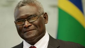 Solomon Islands Prime Minister Manasseh Sogavare at Parliament House in Canberra.
