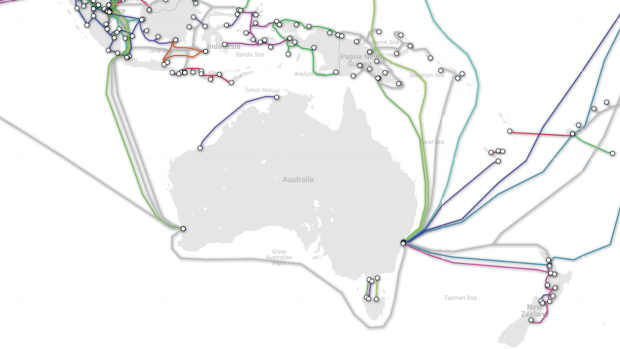 A map of submarine cables connected to the Australian mainland.