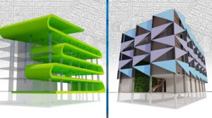 Two of the designs to update outdated office buildings.