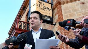 Nick Xenophon holds a press conference at the British Hotel, North Adelaide, on Saturday.