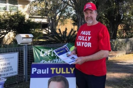 Ipswich acting mayor and frontrunner Paul Tully votes early on Saturday morning in the vote to choose Ipswich's 50th mayor.