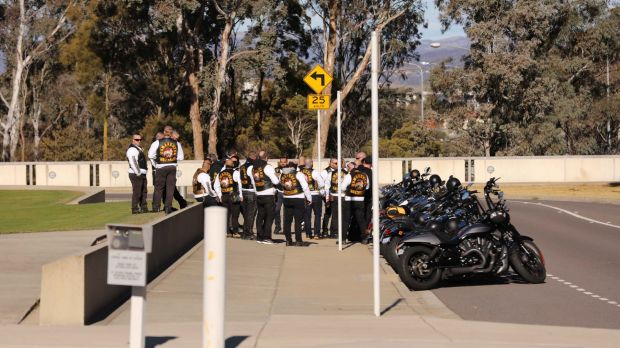 Bikies outside Parliament House.