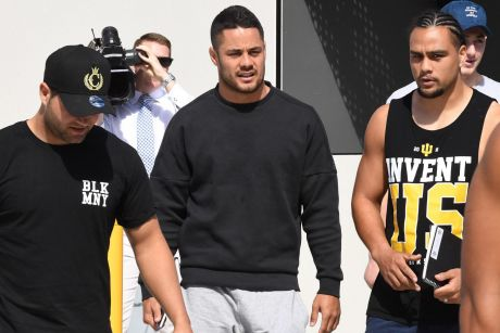 Tense times on the Coast: Jarryd Hayne at Titans headquarters.
