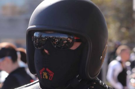 Police monitor the movements of the Commanchero bikies in Canberra on Saturday.