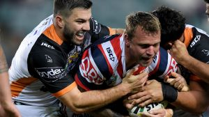 Go forward: James Tedesco got away with a shocker of a forward pass on Saturday.