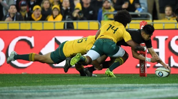 Try blitz Rieko Ioane powers through the Australian defence to score out wide