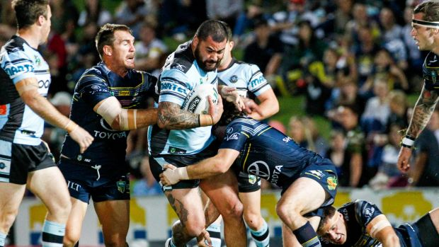 Raw power: Andrew Fifita muscles his way through the Cowboys defence.