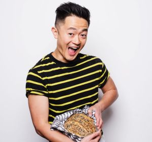Benjamin Law with his finished sourdough bread.