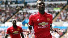 Confidence man: Manchester United's Paul Pogba celebrates scoring his side's third goal against Swansea, chipping the ...