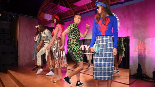 Models at the Myer Spring Social show some of the store's more youth-oriented brands in a parade that featured tap ...