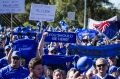 Fans rally in support of the Western Force in Perth on Sunday