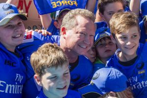 Andrew Forrest joins the crowd during a rally in support of the Western Force.